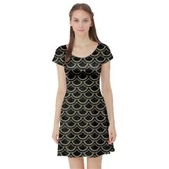 Scales2 Black Marble & Khaki Fabric (r) Short Sleeve Skater Dress by trendistuff