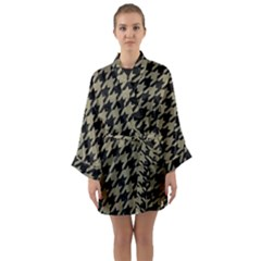 Houndstooth1 Black Marble & Khaki Fabric Long Sleeve Kimono Robe by trendistuff