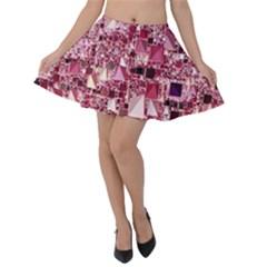 Modern Geo Fun,pink Velvet Skater Skirt by MoreColorsinLife