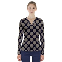 Circles2 Black Marble & Khaki Fabric (r) V Neck Long Sleeve Top by trendistuff