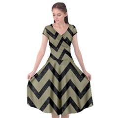Chevron9 Black Marble & Khaki Fabric Cap Sleeve Wrap Front Dress by trendistuff