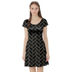 Brick2 Black Marble & Khaki Fabric (r) Short Sleeve Skater Dress by trendistuff
