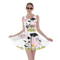 Friends Not Food   Cute Pig And Chicken Skater Dress by Valentinaart