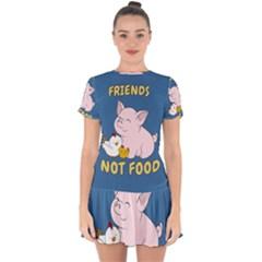 Friends Not Food - Cute Pig And Chicken Drop Hem Mini Chiffon Dress by Valentinaart