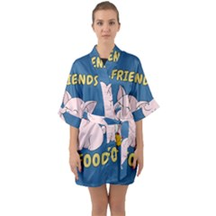 Friends Not Food - Cute Pig And Chicken Quarter Sleeve Kimono Robe by Valentinaart