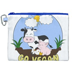 Friends Not Food   Cute Cow, Pig And Chicken Canvas Cosmetic Bag (xxl) by Valentinaart