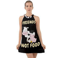 Friends Not Food   Cute Cow, Pig And Chicken Halter Tie Back Chiffon Dress by Valentinaart