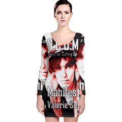 Valerie Solanas Long Sleeve Bodycon Dress by Valentinaart