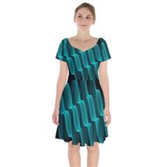 Background Light Glow Blue Green Short Sleeve Bardot Dress