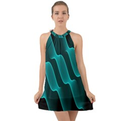 Background Light Glow Blue Green Halter Tie Back Chiffon Dress