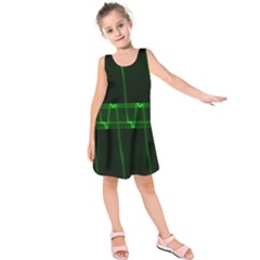 Background Signal Light Glow Green Kids  Sleeveless Dress by Nexatart