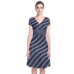 Metal Steel Stripped Creative Short Sleeve Front Wrap Dress