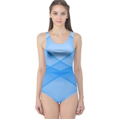 Background Light Glow Blue One Piece Swimsuit