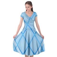Background Light Glow Blue Cap Sleeve Wrap Front Dress by Nexatart