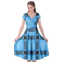 Wall Blue Steel Light Creative Cap Sleeve Wrap Front Dress by Nexatart