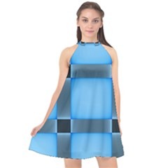 Wall Blue Steel Light Creative Halter Neckline Chiffon Dress  by Nexatart