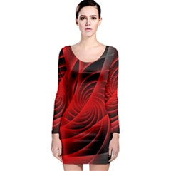 Red Abstract Art Background Digital Long Sleeve Bodycon Dress
