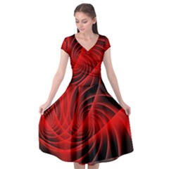 Red Abstract Art Background Digital Cap Sleeve Wrap Front Dress by Nexatart