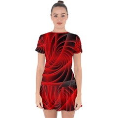 Red Abstract Art Background Digital Drop Hem Mini Chiffon Dress