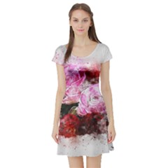 Flowers Roses Wedding Bouquet Art Short Sleeve Skater Dress