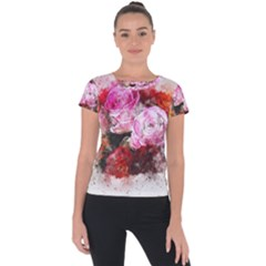 Flowers Roses Wedding Bouquet Art Short Sleeve Sports Top  by Nexatart
