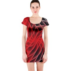 Abstract Red Art Background Digital Short Sleeve Bodycon Dress