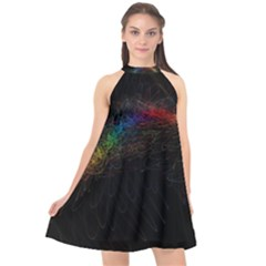 Background Light Glow Lines Colors Halter Neckline Chiffon Dress  by Nexatart