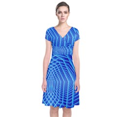 Blue Background Light Glow Abstract Art Short Sleeve Front Wrap Dress