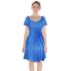 Blue Background Light Glow Abstract Art Short Sleeve Bardot Dress by Nexatart