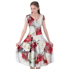 Flowers Roses Bouquet Art Nature Cap Sleeve Wrap Front Dress by Nexatart