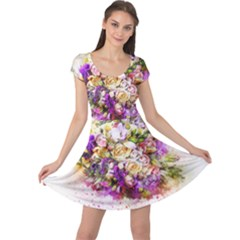 Flowers Bouquet Art Nature Cap Sleeve Dress