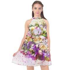 Flowers Bouquet Art Nature Halter Neckline Chiffon Dress