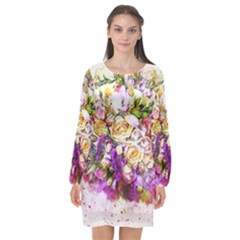 Flowers Bouquet Art Nature Long Sleeve Chiffon Shift Dress  by Nexatart