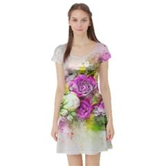 Flowers Bouquet Art Nature Short Sleeve Skater Dress