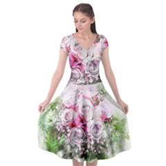 Flowers Bouquet Art Nature Cap Sleeve Wrap Front Dress by Nexatart