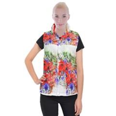 Flowers Bouquet Art Nature Women s Button Up Puffer Vest by Nexatart
