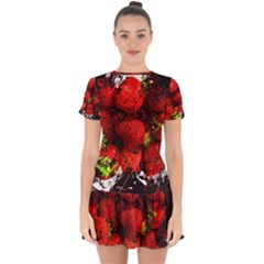 Strawberry Fruit Food Art Abstract Drop Hem Mini Chiffon Dress by Nexatart