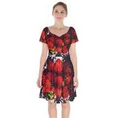 Strawberry Fruit Food Art Abstract Short Sleeve Bardot Dress