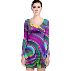 Background Art Abstract Watercolor Long Sleeve Bodycon Dress