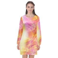 Background Art Abstract Watercolor Long Sleeve Chiffon Shift Dress  by Nexatart