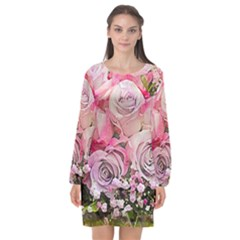 Flowers Bouquet Wedding Art Nature Long Sleeve Chiffon Shift Dress