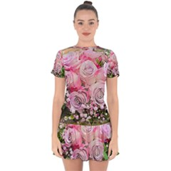 Flowers Bouquet Wedding Art Nature Drop Hem Mini Chiffon Dress by Nexatart