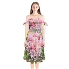 Flowers Bouquet Wedding Art Nature Shoulder Tie Bardot Midi Dress by Nexatart