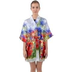 Flowers Bouquet Art Nature Quarter Sleeve Kimono Robe by Nexatart