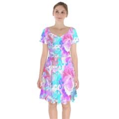 Background Art Abstract Watercolor Pattern Short Sleeve Bardot Dress by Nexatart