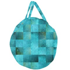 Background Squares Blue Green Giant Round Zipper Tote