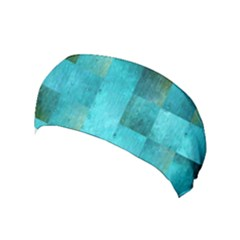 Background Squares Blue Green Yoga Headband by Nexatart