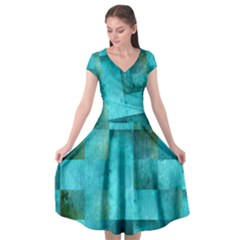Background Squares Blue Green Cap Sleeve Wrap Front Dress by Nexatart