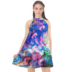 Background Art Abstract Watercolor Halter Neckline Chiffon Dress