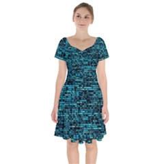 Wall Metal Steel Reflexions Short Sleeve Bardot Dress by Nexatart
